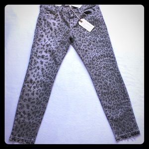 Current Elliot grey leopard skinny jeans Sz 28